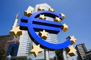 Euro sign outside European Central Bank, Frankfurt, Germany